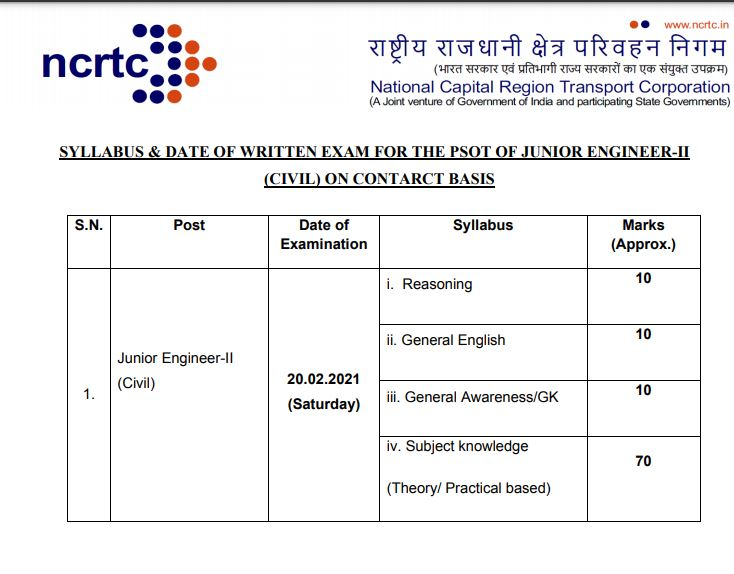 NCRTC JE Admit Card 2021   Check Junior Engineer Exam Date @ ncrtc.in