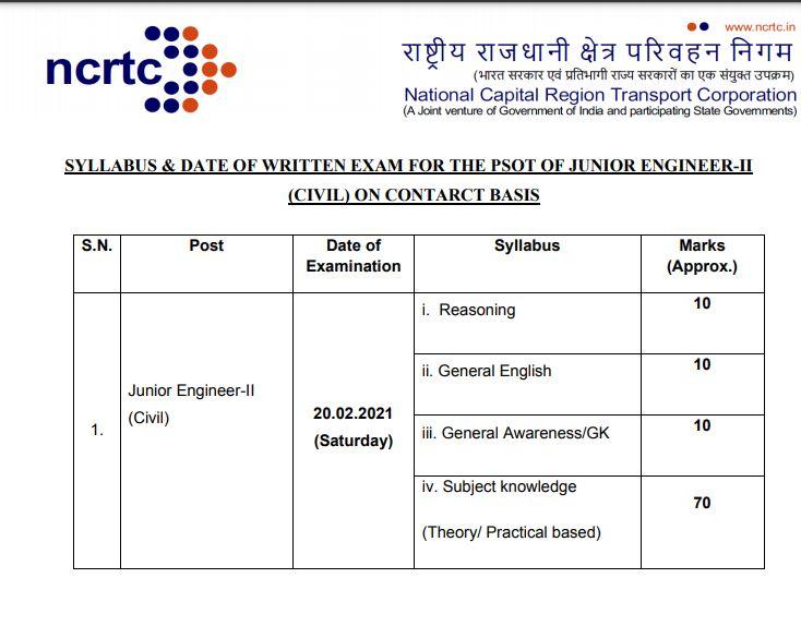 NCRTC Junior Engineer Civil Hall Ticket 2021