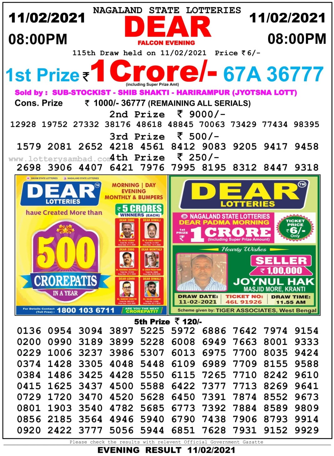 Nagaland State Lottery Result 8 PM 11.2.2021
