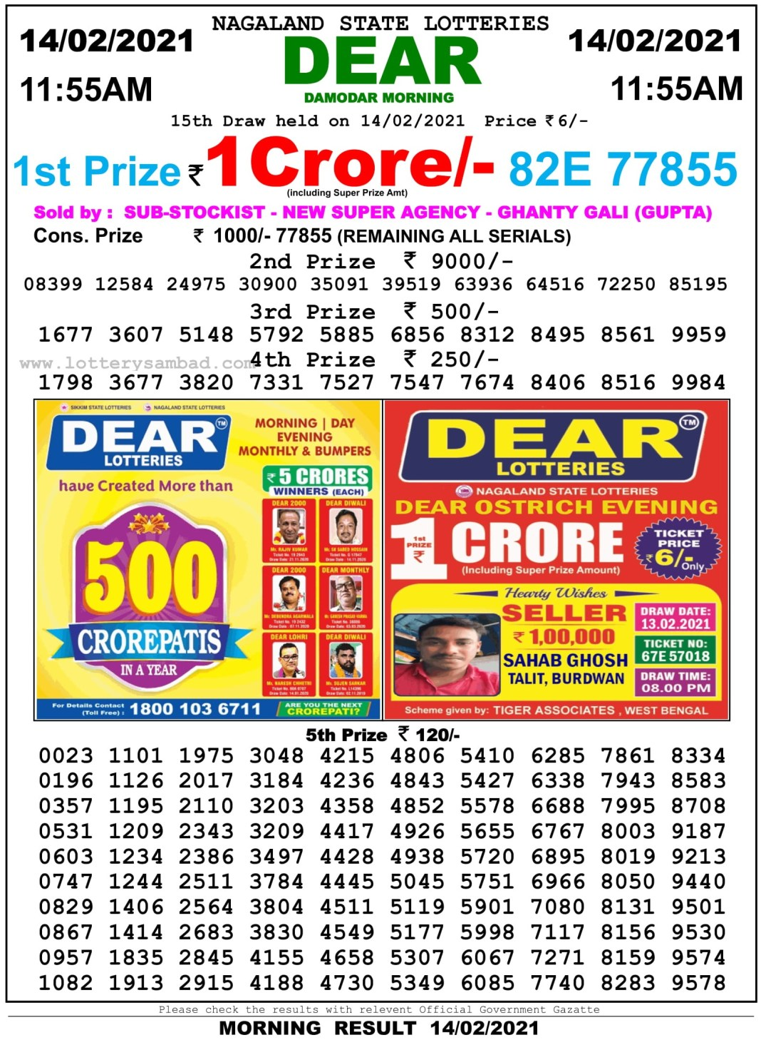 Sikkim State Lottery Result 11.55 AM 14.2.2021