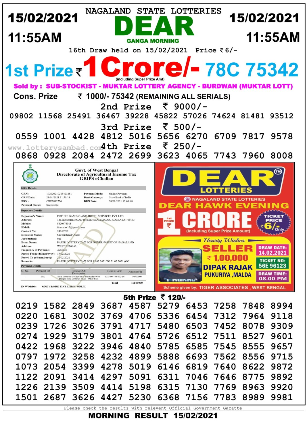 Sikkim State Lottery Result 11.55 AM 15.2.2021