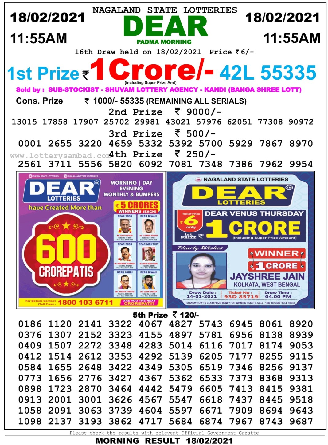Sikkim State Lottery Result 11.55 AM 18.2.2021