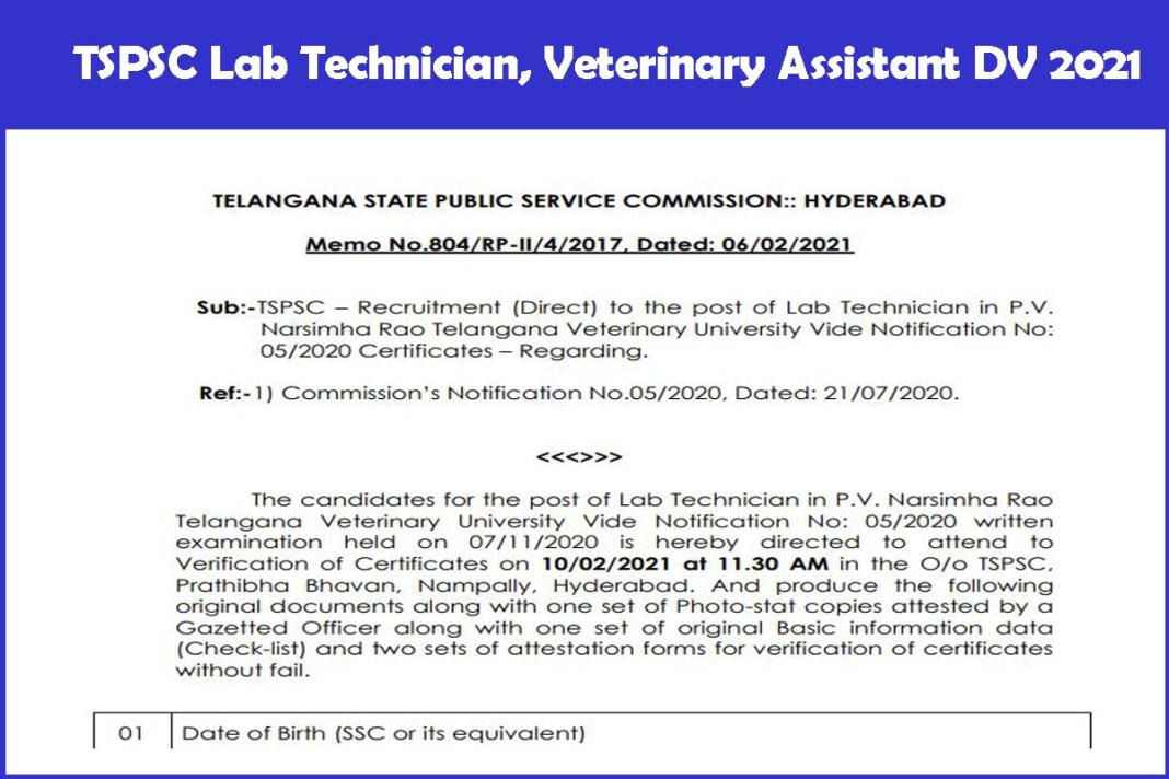 TSPSC Lab Technician, Veterinary Assistant DV 2021