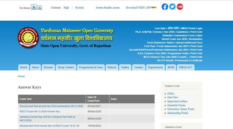VMOU RSCIT Answer Key 2021 PDF (Released) | Check at vmou.ac.in