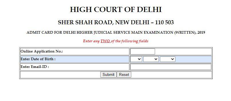 Delhi High Court Judicial Service Mains Admit Card 2021