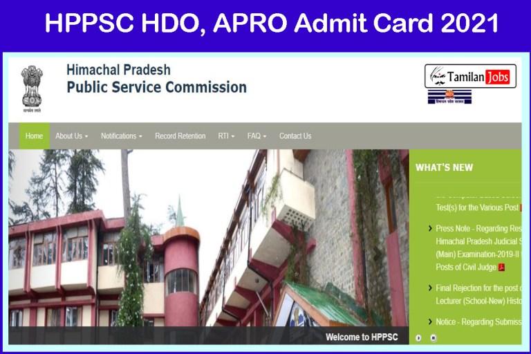 HPPSC Horticulture Development Officer Admit Card 2021 | Exam Date @ hppsc.hp.gov.in