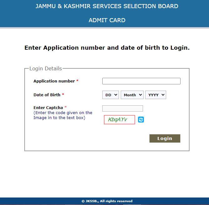JKSSB Admit Card 2021