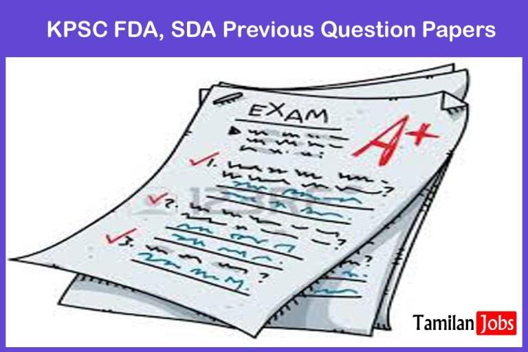 KPSC FDA, SDA Previous Question Papers