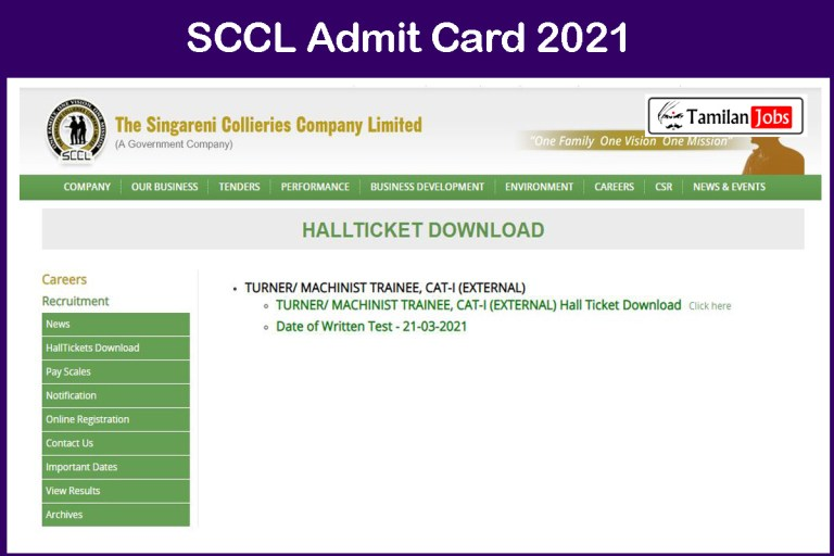 SCCL Admit Card 2021 (Out) | Telangana Singareni Turner, Fitter, Exam Date @ scclmines.com