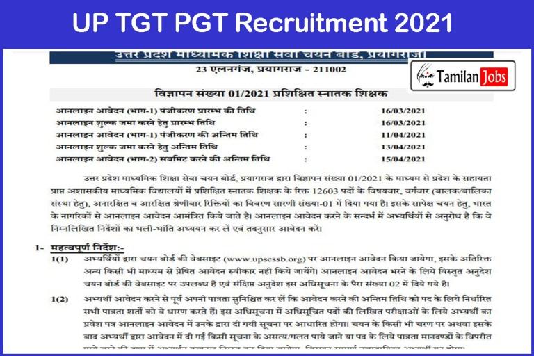 UP TGT PGT Recruitment 2021 Out – Apply Online 15198 TGT PGT Jobs