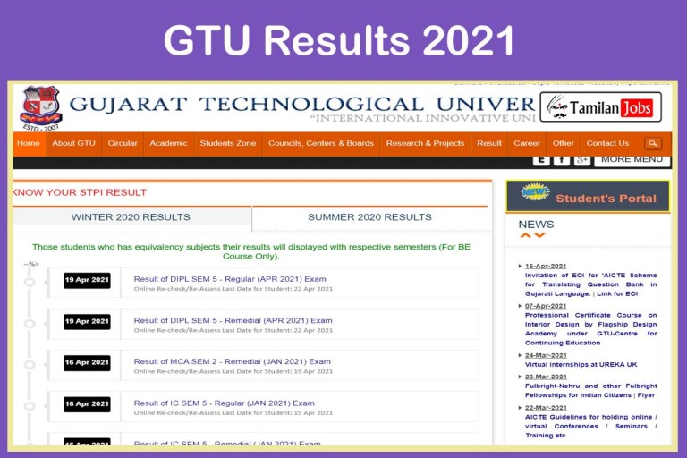 GTU Diploma Results 2021 (Out) | Check GTU BA BPH MCA Result @gtu.ac.in