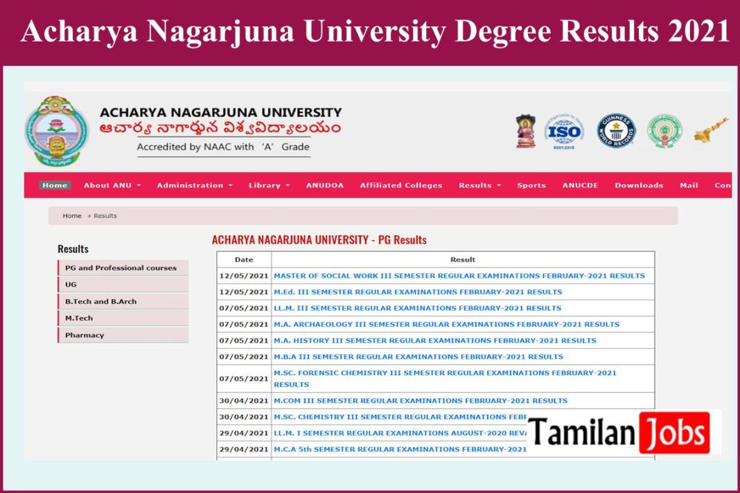 Acharya Nagarjuna University Degree Results 2021