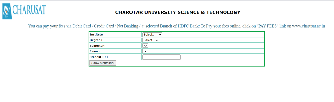 CHARUSAT BSC Result 2021