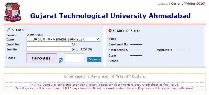 GTU Result 2021 (Out), Gujarat Technological University UG, PG Mark Sheet