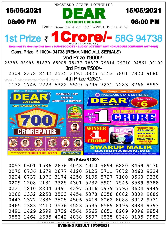 Nagaland Lottery Sambad 8 PM Result on 15.5.2021