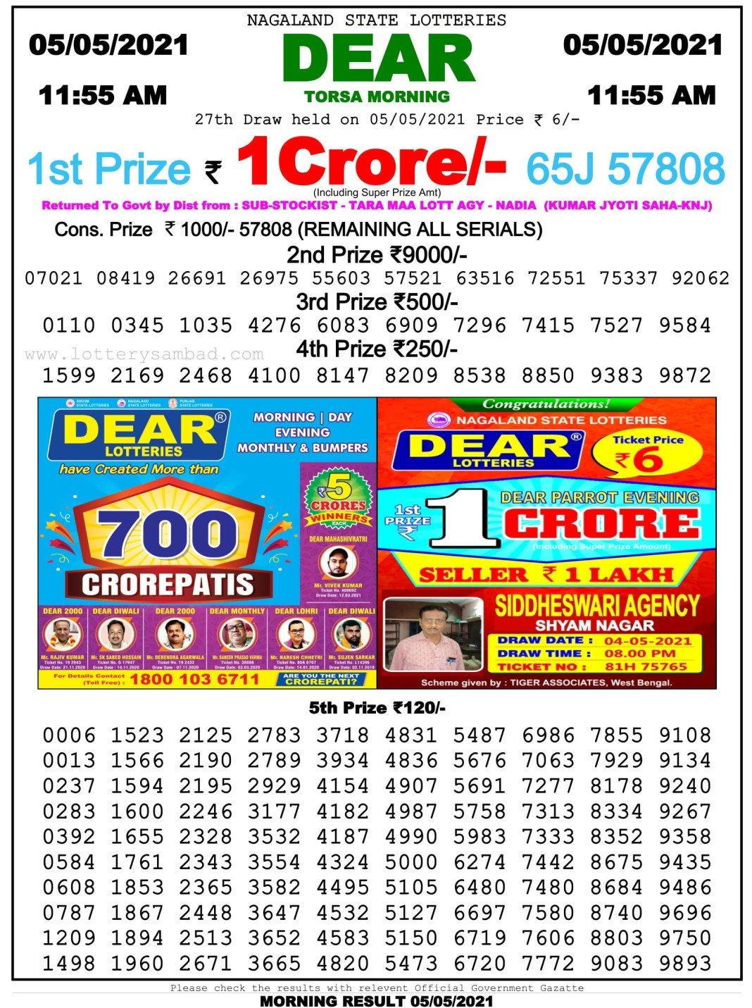 Sikkim State Lottery Result 11.55 AM 5.5.2021