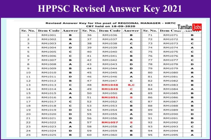 HPPSC Regional Manager Answer Key 2021 Announced | Check @ hppsc.hp.gov.in