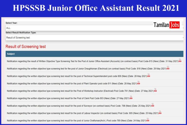 HPSSSB Junior Office Assistant Result 2021 Released   Merit List @ hpsssb.hp.gov.in