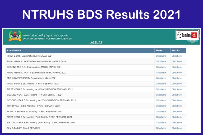 NTRUHS BDS Results 2021 { Out @ ntruhs.ap.nic.in }   Download Now!