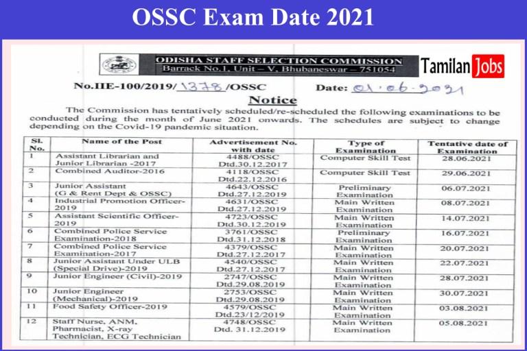 OSSC Revised Exam Calendar 2021 Declared | Download @ossc.gov.in