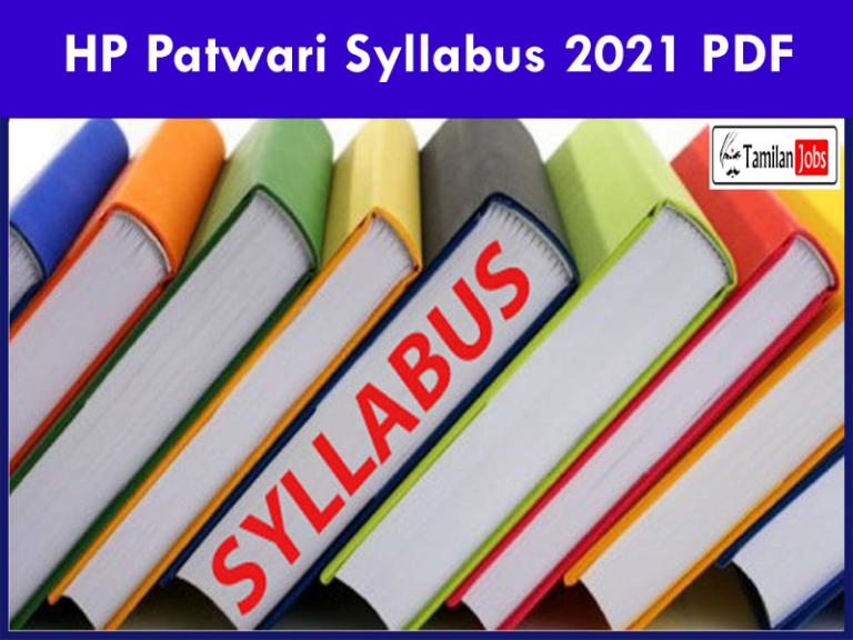 Download HP Patwari Curriculum 2021 PDF exam sample