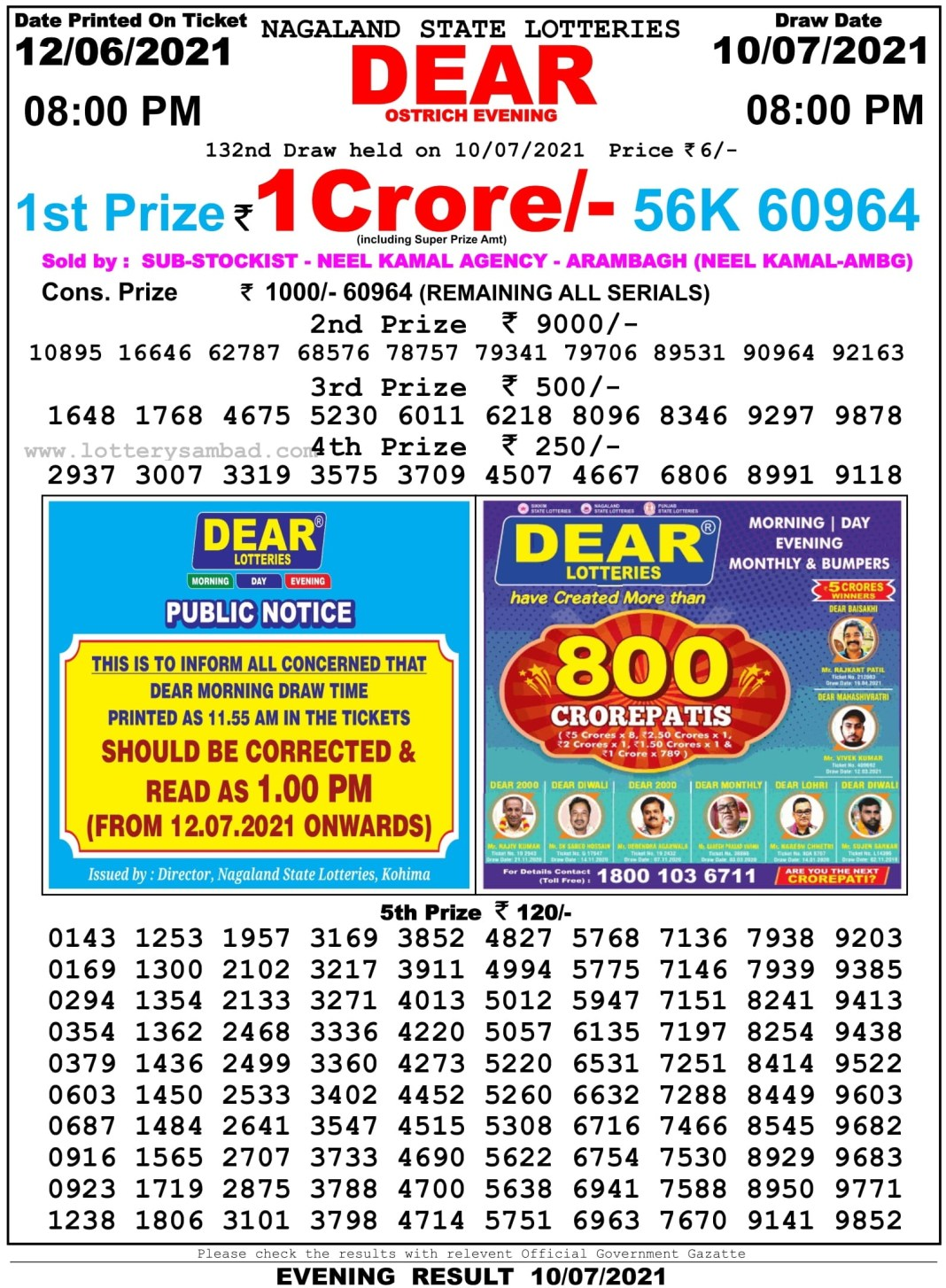 Nagaland State Lottery Result 10.7.2021 at 8 PM