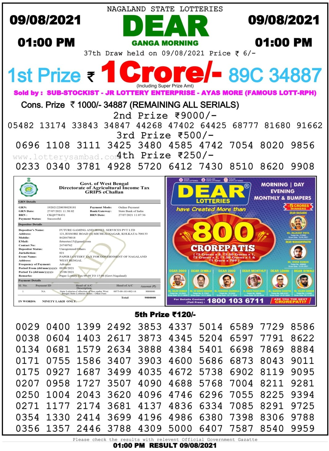 Nagaland State Lottery Result 9.8.2021 at 1 PM