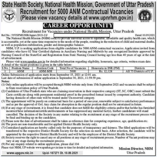 NHM UP ANM Recruitment 2021 Out – Apply Online 5000 Auxiliary Nursing Jobs