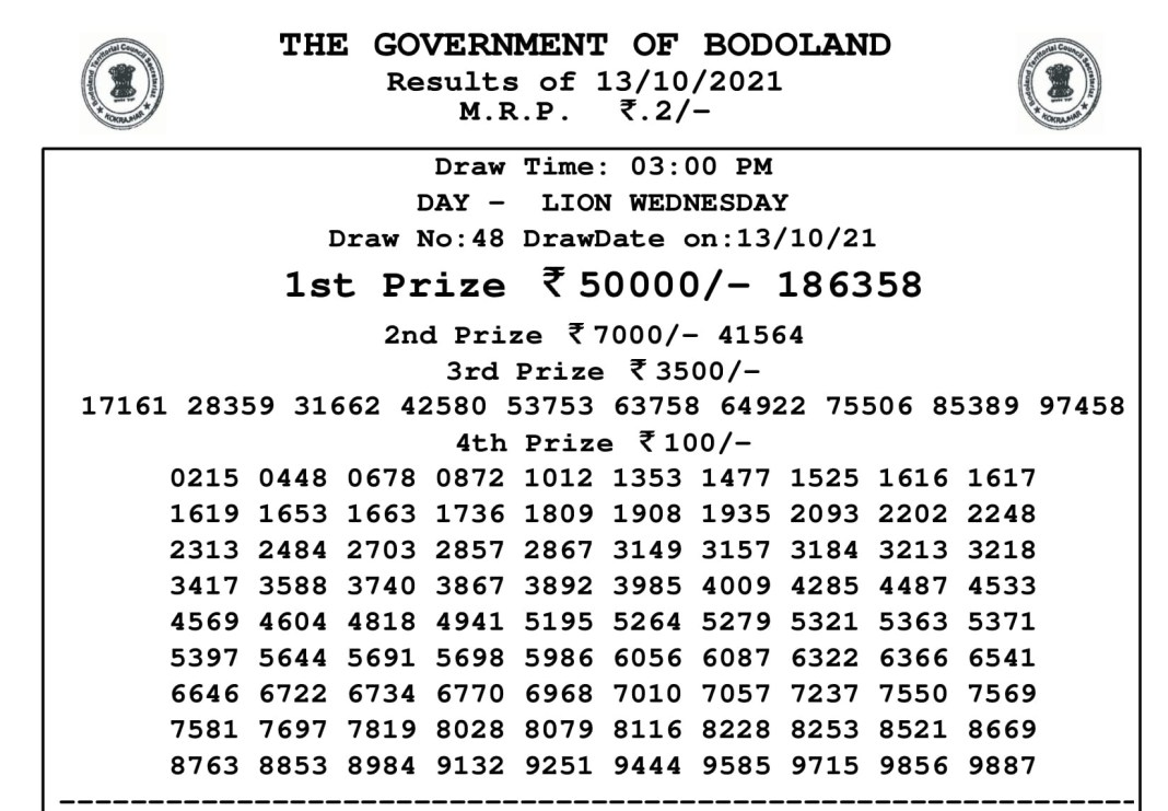 Bodoland Lottery Result Today 13.10.2021 at 3 PM