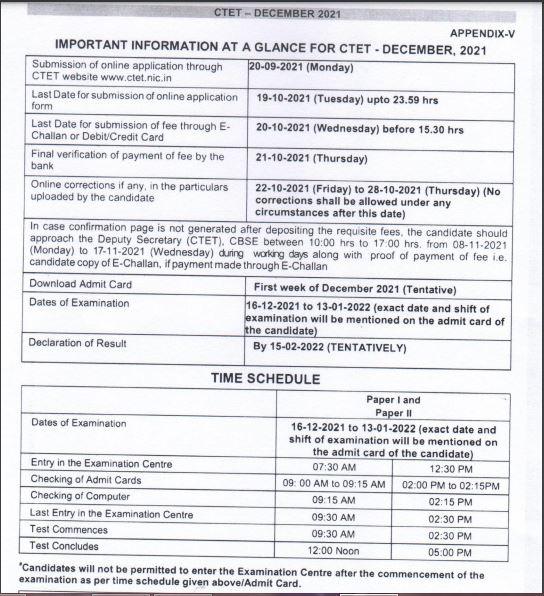 CTET Exam Date 2021 Out, Central Teacher Eligibility Test Exam Schedule