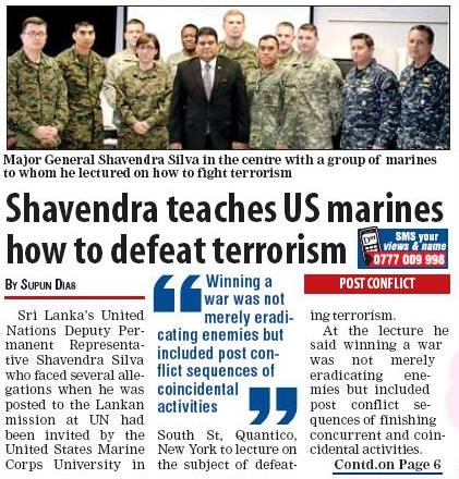 Genocide Criminal , Sri Lanka lectures US Marines.