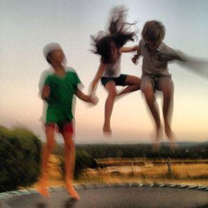 Kids on tramp
