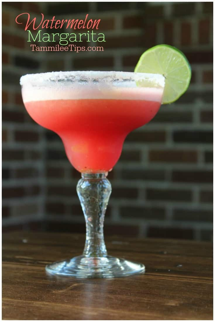 Easy Frozen Fresh Watermelon Margarita Recipe perfect for summer! Whip up a big batch and serve at your next party. You can easily make this recipe for a crowd or single serve margaritas it is completely up to you! So easy to make and tastes soooo good!  #frozenmargarita #margarita #watermelon #summer #recipe #easyrecipe #cocktail #booze