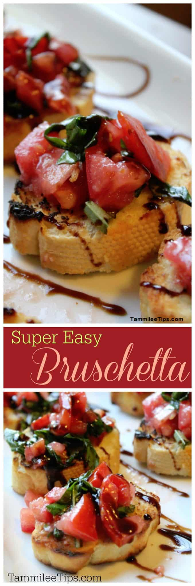 Super Easy Bruschetta Recipe! This is the best appetizer! So simple to make and great for a crowd! You can't go wrong with this tomato, balsamic vinegar glaze appetizer! Hello yum! Great for super bowl parties, football parties, birthdays, weddings, or any day you need a quick meal.   #bruschetta #appetizer #easyappetizer #holiday #partyfood