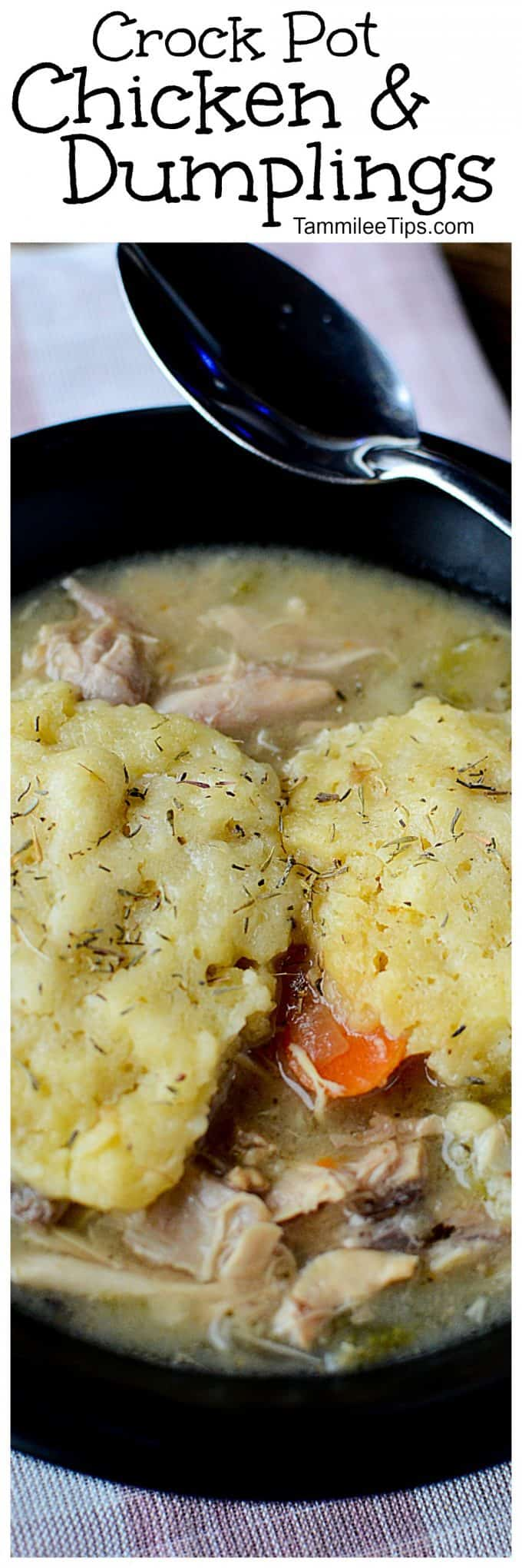 Easy Crockpot Slow Cooker Chicken and Dumplings Recipe for those days you can't make it to Cracker Barrell or need comfort food! Homemade with biscuits super delicious easy crock pot recipe!