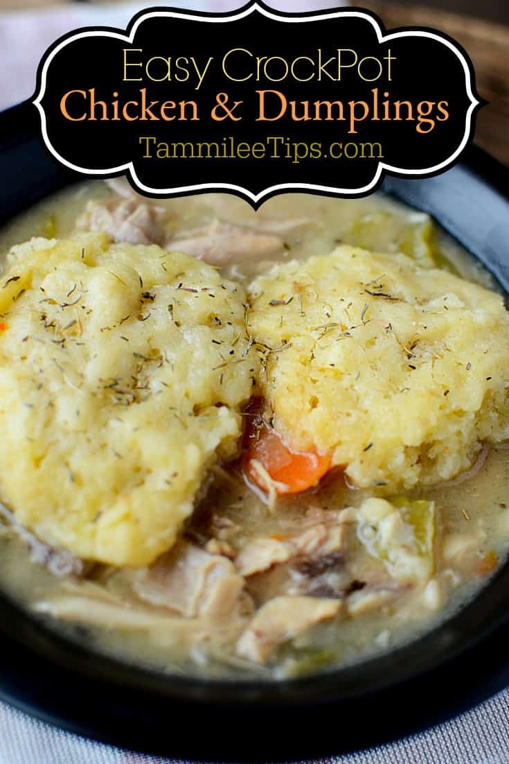 Easy Crockpot Slow Cooker Chicken and Dumplings Recipe for those days you can't make it to Cracker Barrell or need comfort food! Homemade with biscuits super delicious easy crock pot recipe!   #crockpot #slowcooker #chicken #crockpotrecipe #chickenanddumplings #comfortfood #easyrecipe #dinner #entree
