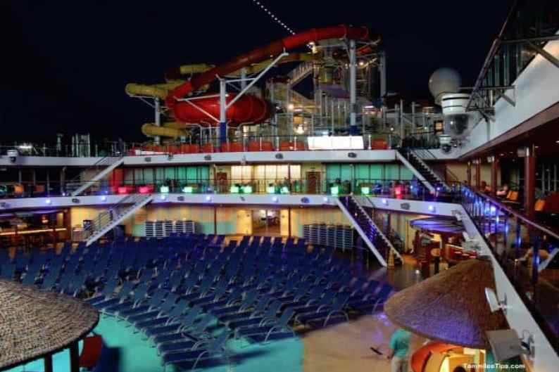 Carnival Breeze Pool Deck at Night