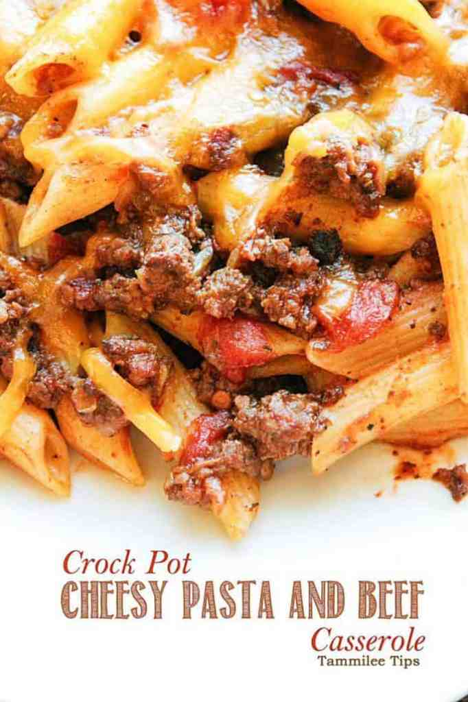 crock pot cheesy pasta and beef casserole recipe