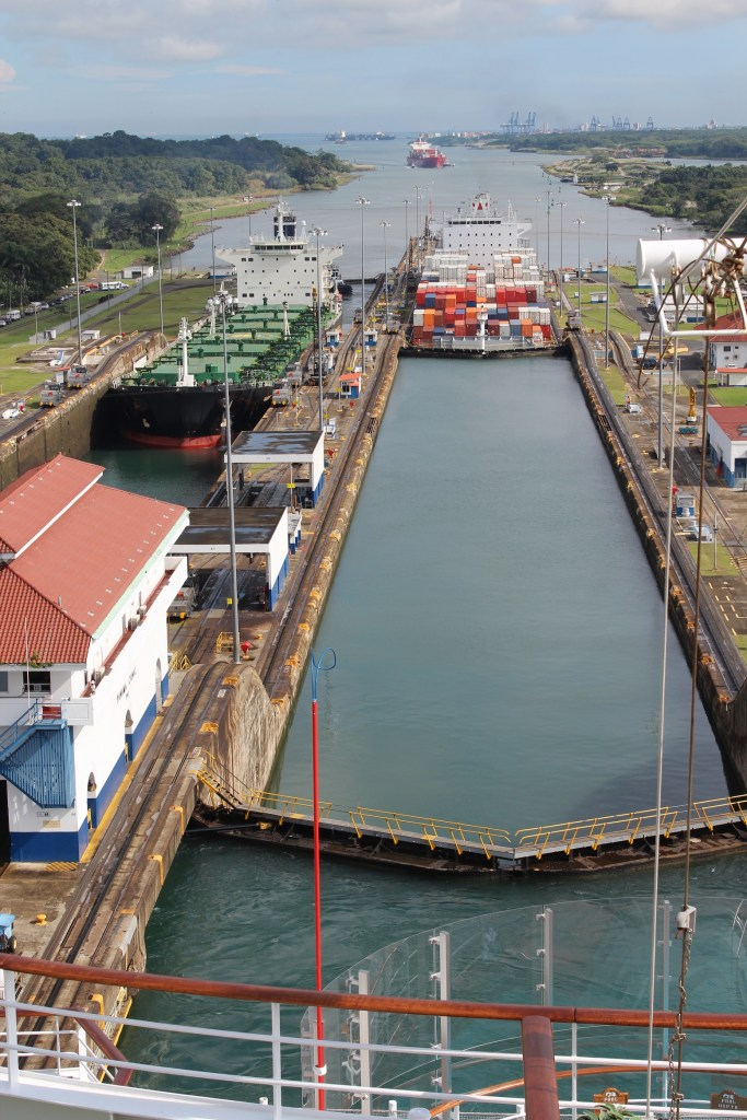 Panama Canal ships in the lock