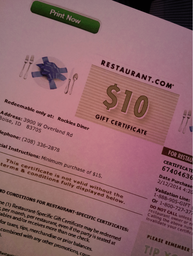 Rockies Restaurant gift certificate