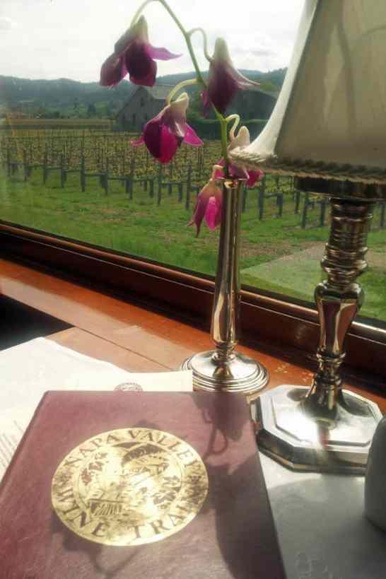 Napa Valley Wine Train dining room table