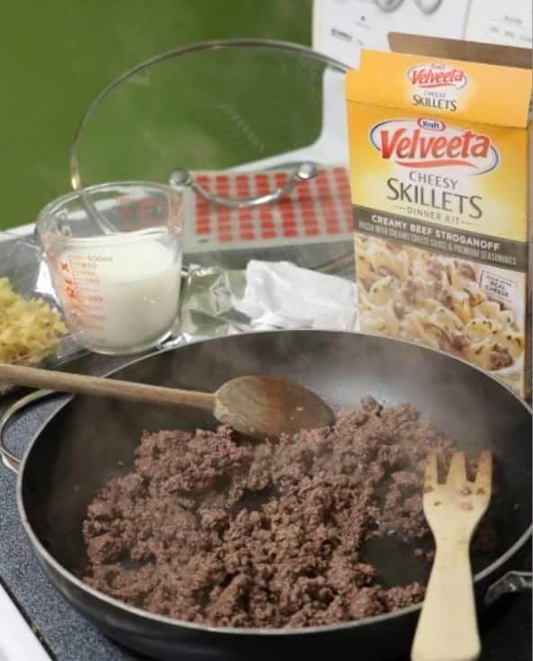 creamy beef stroganoff cooking