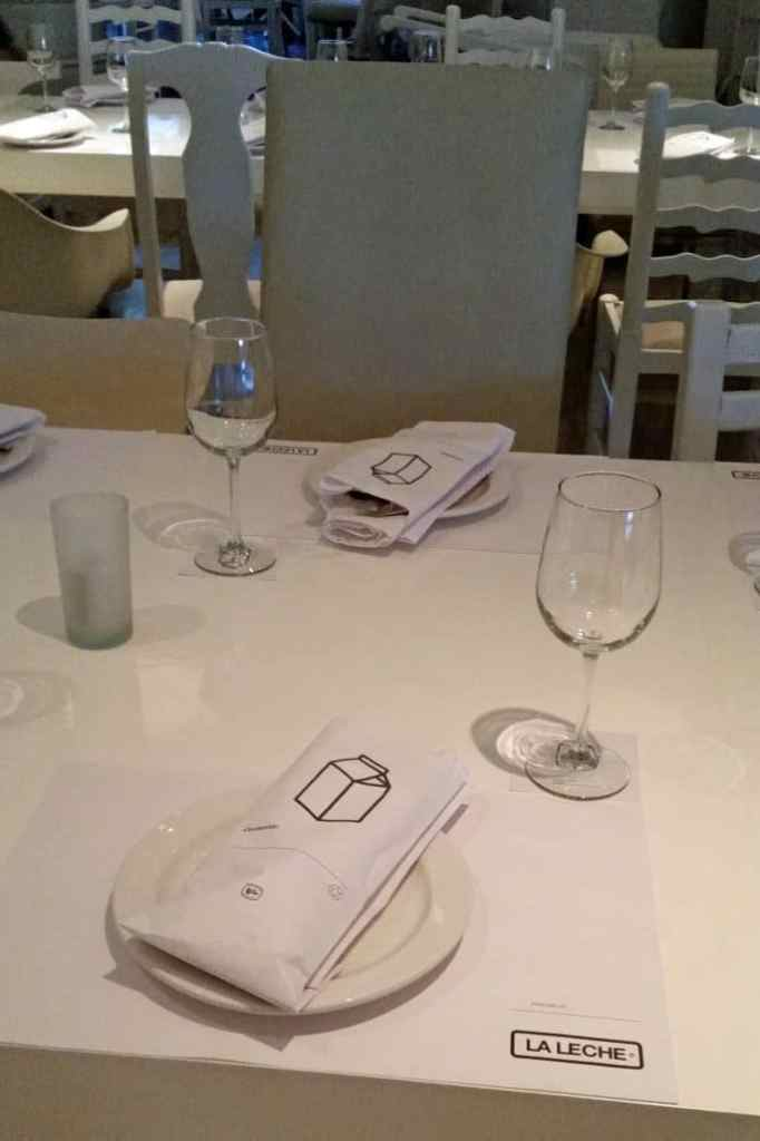 table setting at La Leche