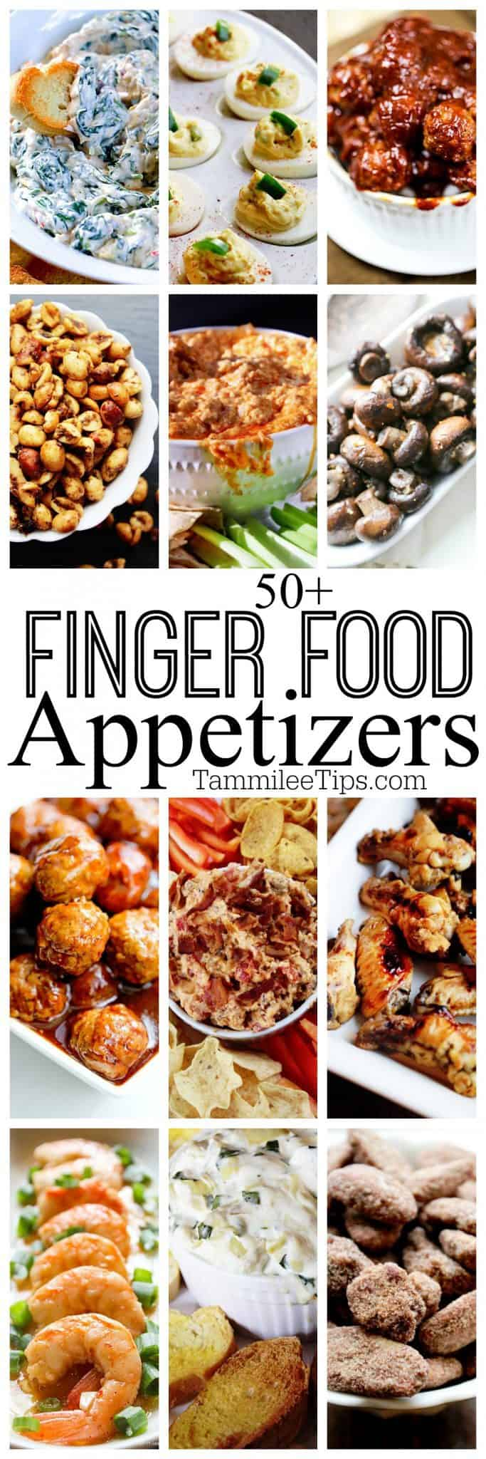 50+ finger food appetizer recipes perfect for holiday parties, super bowl football parties, birthdays or any event. #crockpot #slowcooker #appetizers #fingerfood #dips #recipes