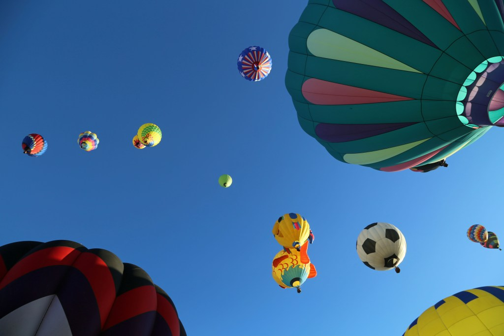 looking up at Mass Ascension Reno Hot Air Baloon Race