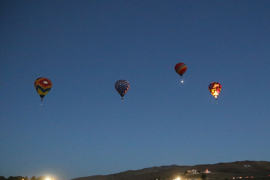 turning daylight at Dawn Patrol Reno Hot Air Baloon Race