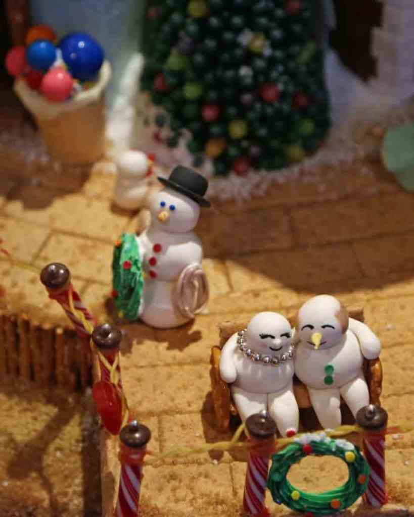 Blog snowman on gingerbread house