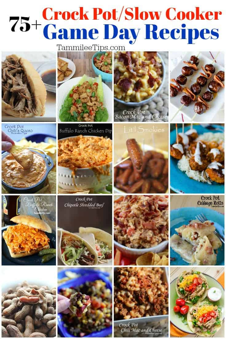 75+ Game Day Crock Pot Recipes! The perfect appetizers for your Super Bowl Party! The crockpot slow cooker does the work and you have an amazing delicious meal to serve your guests.  Super Bowl party food snacks, appetizers, desserts, entrees, and drink recipes are so easy to make in the slow cooker crock pot.   #crockpot #slowcooker #appetizer #recipes #gameday #superbowl #footballparty #partyfood