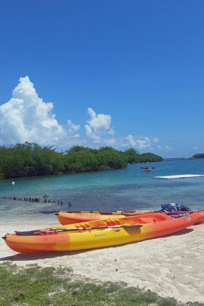 kayak on beach Belize