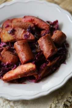 Crock Pot Kielbasa and Red Cabbage